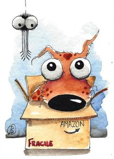 ACEO Original watercolor art painting whimsical spotty dog spider cardboard box #IllustrationArt