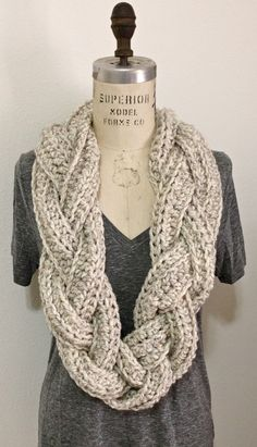 CROCHET This high fashioned Infinity scarf is hand crocheted and braided in a chunky Oatmeal acrylic/ rayon yarn that has specs of black, brown and Camel Finger Knitting, Loom Knitting, Knitting Patterns, Crochet Patterns, Scarf Patterns, Crochet Scarves, Crochet Shawl, Knit Crochet, Easy Crochet