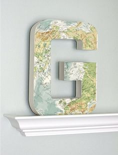 Large Vintage Map Letter G 12 inches Tall Home by FleaMarketSunday, $35.00