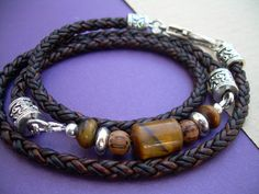 Braided Leather and Gemstone Triple Wrap by UrbanSurvivalGearUSA, $32.99