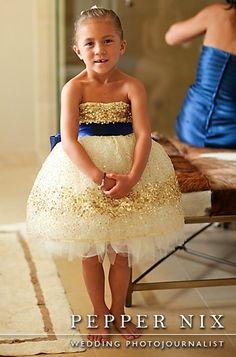 Gold Constellation Flower Girl Dress- Navy Blue Sash Example. $400.00, via Etsy.