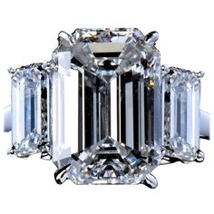 Preowned 4.84 Carat Center Emerald Cut Diamond Platinum Three Stone... ($179,950) ❤ liked on Polyvore featuring jewelry, rings, green, platinum ring, antique diamond ring, platinum diamond ring, pre owned engagement rings and pre owned diamond rings