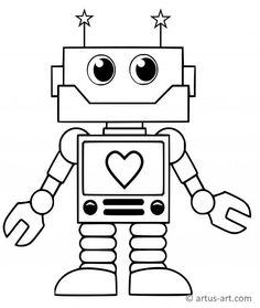 A robot coloring page which is unbelievably sweet. Heart Coloring Pages, Dinosaur Coloring Pages, Coloring Pages For Boys, Coloring Books, Fairy Coloring, Coloring Sheets, Disney Coloring Pages Printables, Free Printable Coloring Pages, Robots Drawing