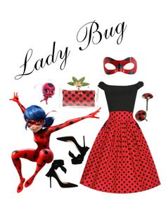 """""""Lady Bug"""" by natalie-schwarz ❤ liked on Polyvore featuring Charlotte Olympia, Gianvito Rossi, disney, disneybound, ladybug, Miraculous and marinette"""
