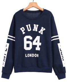 PUNK 64 Print Blue Sweatshirt