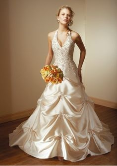 Condition: Brand New Wedding Dress, Top Seller Wedding Dress, A line Wedding Dress Fabric:Satin Details: Handmade High Quality Beading Quality: Fully Boned and Lined in High Quality, all handmade beading without any GLUE Special: Sexy V-neck with A l Hawaiian dresses