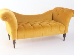 antoinette fainting sofa ($579). I have a soft spot for any mustardy yellow, but this love seat also comes in pretty shades of blue, green, purple and even damask patterns. I love tufting so much, it's silly. plus, the low back and big arms invite you to sit down. toss a comfy throw on this and I could lounge for days.