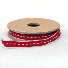 Red with White Stitch Ribbon