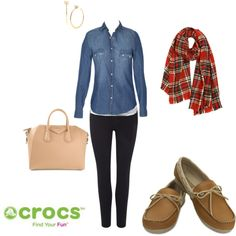 """""""Fall Fun"""" by crocsshoes on Polyvore. The new #Crocs colorlite loafers are the perfect choice for staying comfy and casual this #fall. #shoes #women #style #fashion"""