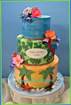 Tropical Hawaiian Birthday Cake