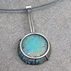 Enamel and Sterling Silver Pendant Sgraffito Forest by lsueszabo