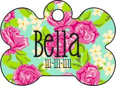 Rose Custom Pet Tag    Personalized Custom Pet Tags from A Modern Style, available in Heart, Bone or Circle shape. These high fashion and super cute