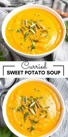 Curried Sweet Potato Soup (Vegan) is creamy without the cream, smooth and rich with spices and nutrients. It will warm you to your toes on a chilly evening! 251 calories and 5 Weight Watchers SP | Plant Based | Healthy | Curry | Recipes | Vegetarian | Dairy Free | Without Cream | Chickpeas #plantbased #veganrecipes #sweetpotato #potatosoup #smartpoints #wwrecipes Healthy Curry Recipe, Delicious Vegan Recipes, Curry Recipes, Vegetarian Recipes, Top Recipes, Skinny Recipes, Recipies, Healthy Eats, Healthy Foods