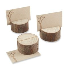 Amazon.com: Kate Aspen 4 Count Wood Place Card/Photo Holder, Rustic Real: Baby