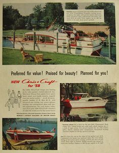 Original vintage magazine ad for Chris Craft boats featuring the Constellation, the Commander, and the Continental. Publication Year: 1958 Approximate Ad Size (in inches): 10 x Condition: VG Cruiser Boat, Cabin Cruiser, Chris Craft Wooden Boats, Small Yachts, Classic Wooden Boats, Vintage Boats, Old Boats, Vintage Prints, Vintage Art