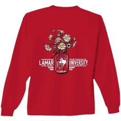 New World Graphics Women's Lamar University Bouquet Long Sleeve T-shirt (Red, Size Large) - NCAA Licensed Product, NCAA Women's at Academy Sports