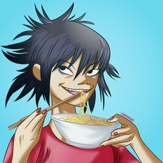 Noodle Gorillaz Eating Noodles Gorillaz Noodle, Gorillaz Art, Monkeys Band, Demon Days, D D Characters, Character Design Inspiration, Noodles, Nerdy, Anime Art
