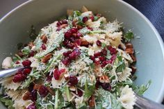 Pasta Salad - I used bowtie pasta, plain pecans, dried cranberries, Asiago cheese, a bag of chard/kale/spinach salad mix and Brianna's  poppyseed dressing. Delicious!