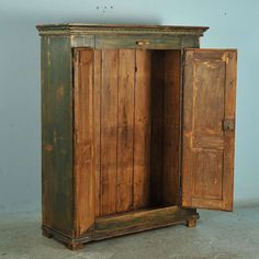 Antique Original Painted Green Two Door Armoire, Lithuania, circa 1860-90 image 3