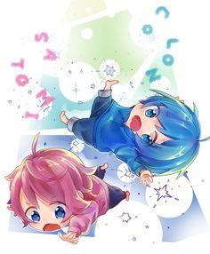 Colon and satomi Kawaii Chibi, Cute Chibi, Anime Chibi, Kawaii Anime, Anime Artwork, Cute Boys, Anime Guys, Jimin, Geek Stuff