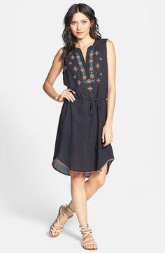 Velvet by Graham & Spencer Embroidered Cotton Shift Dress | Nordstrom