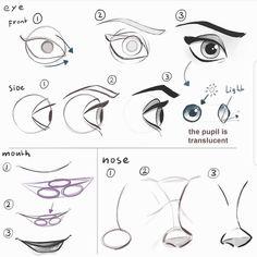 いいね!1,915件、コメント54件 ― Mitch Leeuweさん(@mitchleeuwe)のInstagramアカウント: 「How to draw face features. Let me know what kind of tutorials you would like to see! #art #drawing…」