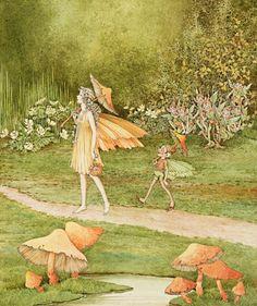 Works on Paper - Ida Rentoul Sherbourne Outhwaite - Australian Art Auction Records Fantasy Kunst, Fantasy Art, Arte Elemental, Fairy Paintings, Kobold, Fable, Illustration Art, Illustrations, Fairy Pictures