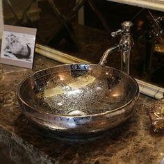 Aliexpress.com: Acheter L'europe Vintage Style Art Lavabo en céramique argent Lavabo comptoir Lavabo lavabos round Art Lavabo de plateau bassin fiable fournisseurs sur China art ceramic wash basin