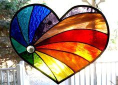 Stained Glass Heart Suncatcher Rainbow by PixieDustGlassStudio