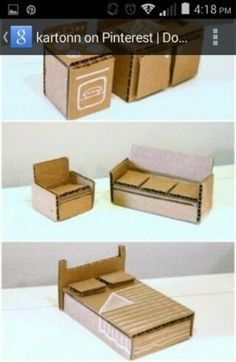 Super Ideas For Cardboard Furniture Diy Barbie House Diy Kitchen Furniture, Diy Barbie Furniture, Diy Cardboard Furniture, Diy Dolls House Furniture, Diy Dollhouse Furniture Easy, Furniture Ideas, Cardboard Chair, Tiny Furniture, Shaker Furniture