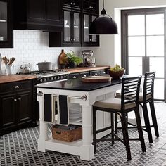 Where we want to be cooking dinner every night. Get more decor inspiration by following the new Williams-Sonoma Home Instagram @wshome! #dreamkitchen #blackandwhite