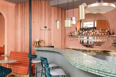In transforming the ground floor and basement of a Grade II-listed Victorian corner block in London's Pimlico neighbourhood into Omar's Place, a modern Mediterranean restaurant, interiors studio Sella Concept (with help from architecture consultancy Wi. Design Blog, Design Studio, Design Trends, Design Design, Cafe Design, Modern House Design, Modern Interior Design, Pastel Interior, Residential Architecture