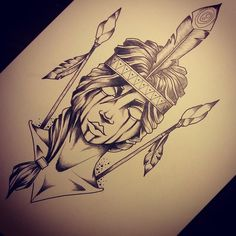 Lady with arrows and feather shaded tattoo design