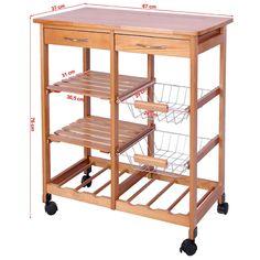 SoBuy Servierwagen aus Gummi-Holz,Küchenwagen,Küchenregal ... | {Küchenwagen schmal 54}
