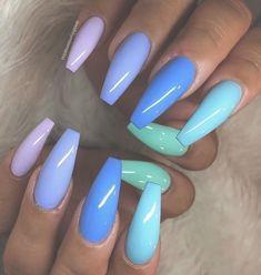 Cute Acrylic Nails 850476710869354042 - Adorable Nail Designs – Rainbow Nails – # Adorable # Nails … Source by monicamamusi Summer Acrylic Nails, Best Acrylic Nails, Pastel Nails, Acrylic Nail Art, Summer Nails, Blue Nails Art, Colourful Acrylic Nails, Cute Acrylic Nail Designs, Long Nail Designs