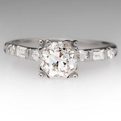 1 Carat Old European Cut Diamond Fishtail Platinum Ring