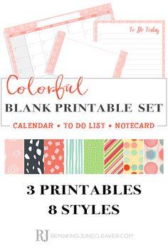 colorful blank printable calendar set remakingjune
