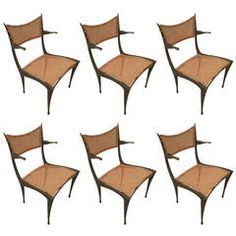 "Extraordinary Set of Six Aluminum Gazelle"" Armchairs by Dan Johnson 