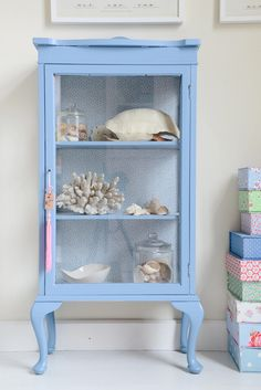 blue display cabinet