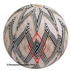 """Weaving and stitching the """"under-over"""" pattern as seen in the red diamond. Japanese Love, Traditional Japanese Art, Yarn Thread, Thread Art, Paper Flower Ball, Sewing Crafts, Sewing Projects, Temari Patterns, Egg Shell Art"""
