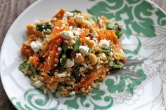 Quinoa Salad with Roasted Yams and Chickpeas - Yum! (Only need less than cup olive oil for dressing, often extra feta) Vegetarian Recipes, Cooking Recipes, Healthy Recipes, Quinoa Chickpea Salad, Feta Salad, Clean Eating, Healthy Eating, Healthy Dishes, Salads