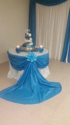 Draping around table cake table look