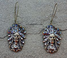 Get 10% off by using the discount code GUGREPKCAR at www.gugonline.com! Bronze Indian Head Earrings with Sapphire Iridescent Crystals