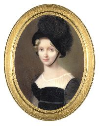 The Dowager Empress Elizaveta Alekseevna (1779-1826), in black dress, black bonnet and feathers on paper stretched over enameled tin Henri Benner (French, 1776 - after 1833) Christie's Auction