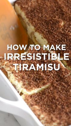 Tiramisu is one of our absolute favorite desserts. It is even simple to make you just need a little time. Tiramisu is one of our absolute favorite desserts. It is even simple to make you just need a little time. Irresistible Tiramisu Recipe with Tips - In Sweet Desserts, Easy Desserts, Sweet Recipes, Delicious Desserts, Yummy Food, Easy Italian Desserts, Simple Dessert Recipes, Authentic Italian Desserts, Rainbow Desserts