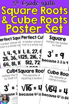 Print and hang these in your math classroom for students to reference. These posters give the first 10 perfect squares and perfect cubes. They also define square root, cube root, square, and cube. Each poster has an example. Math 8, 12th Maths, Math Vocabulary, Maths Algebra, 8th Grade Science, 8th Grade Math, Ninth Grade, Seventh Grade, Middle School Literacy