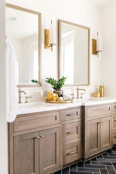 Bathroom Renos, Bathroom Fixtures, Bathroom Flooring, Bathroom Lighting, Remodel Bathroom, Bathroom Remodeling, Bathroom Mirrors, Gold Bathroom, Remodeling Ideas