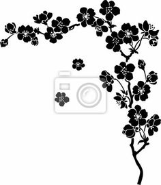 Choose a wall mural  asian, isolated, nature - blooming cherry sakura branch in ink. PIXERS wall murals made of great fabrics. Choose artistic photos from our catalog.