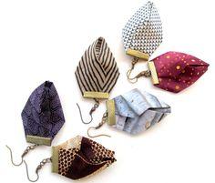 Gilgulim African fabric earrings, origami fabric earrings, statement earrings…