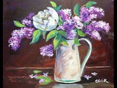 How to Paint Lilacs in Vase by Ginger Cook Beginners Acrylic Painting Tutorial - YouTube